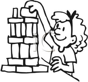 300x279 Coloring Page Of A Girl Playing With Building Blocks