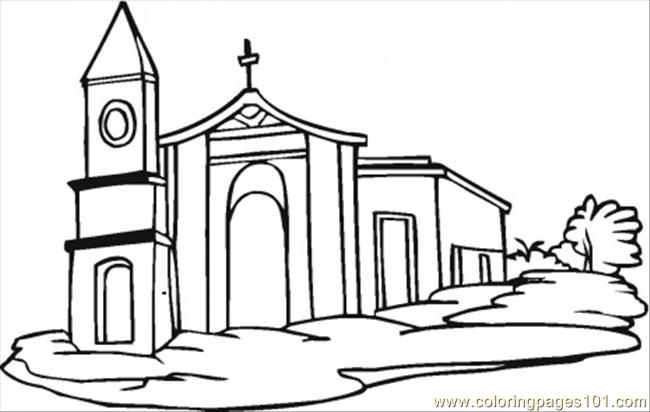650x412 Church Coloring Page