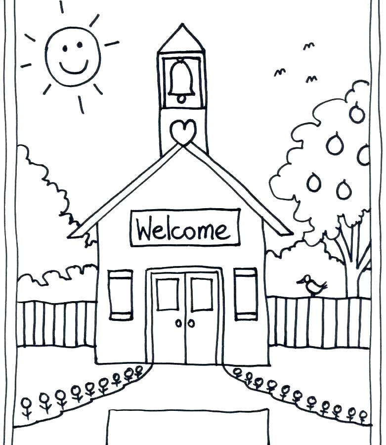 781x900 School Coloring Pages Building Coloring Page School Building