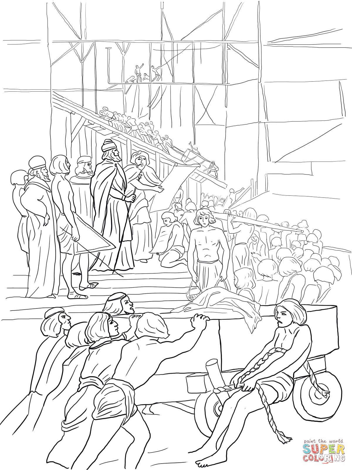 1200x1600 King Solomon Builds The Temple Coloring Page