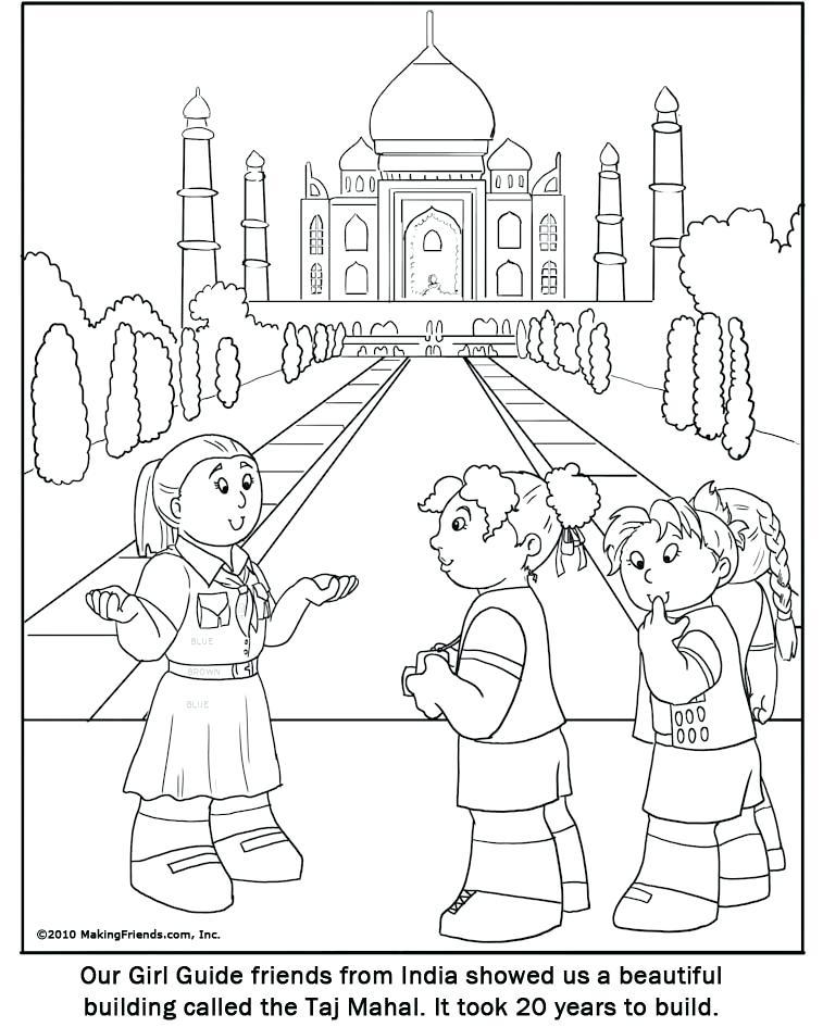 757x945 Taj Mahal Coloring Page