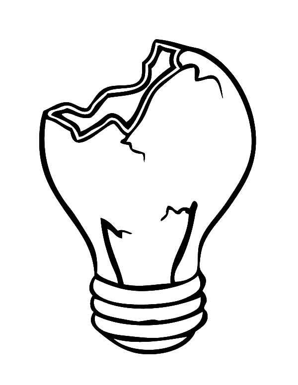 600x776 Cracked Light Bulb Coloring Pages