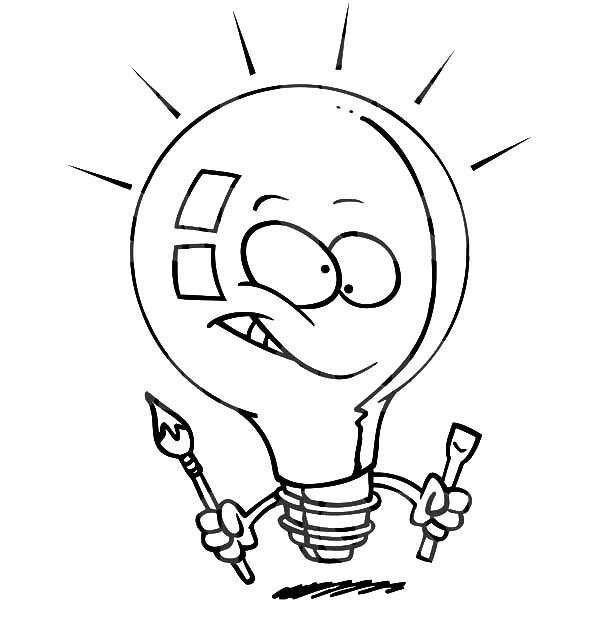 600x620 Light Bulb Painter Coloring Pages