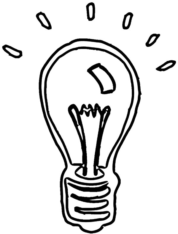 600x787 Shining Light Bulb Coloring Pages