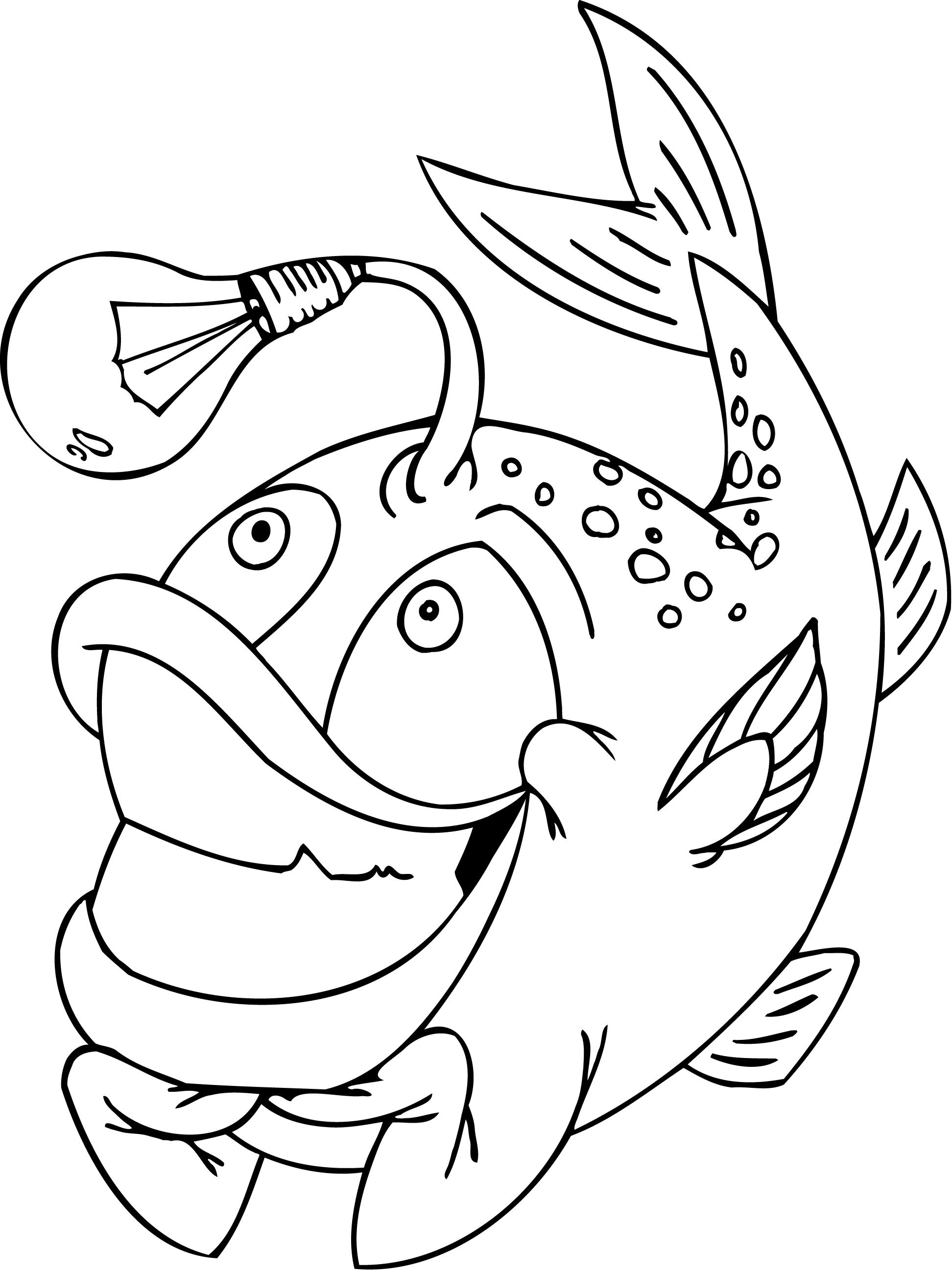 1944x2596 Coloring Pages Of Funny Fish With A Light Bulb