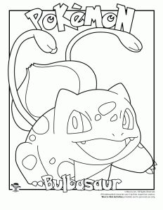 232x300 Pokemon Coloring Page Bulbasaur Coloring Pages Art Coloring