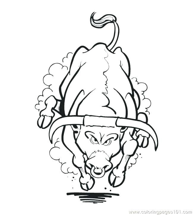 650x724 Bull Coloring Pages Printable Realistic Riding Rider Bulldog Bull