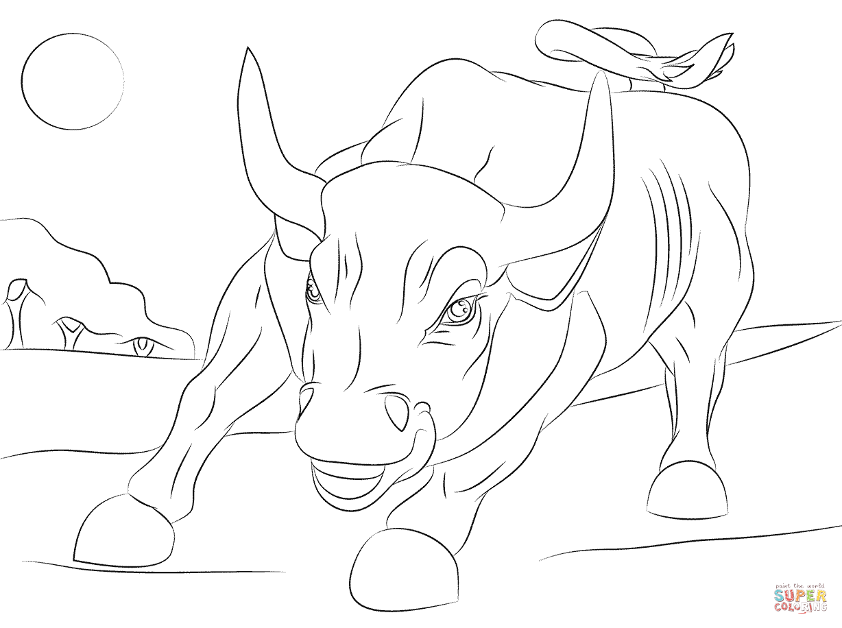 1228x916 Sturdy Bucking Bull Coloring Pages Wall Street Page Free Printable