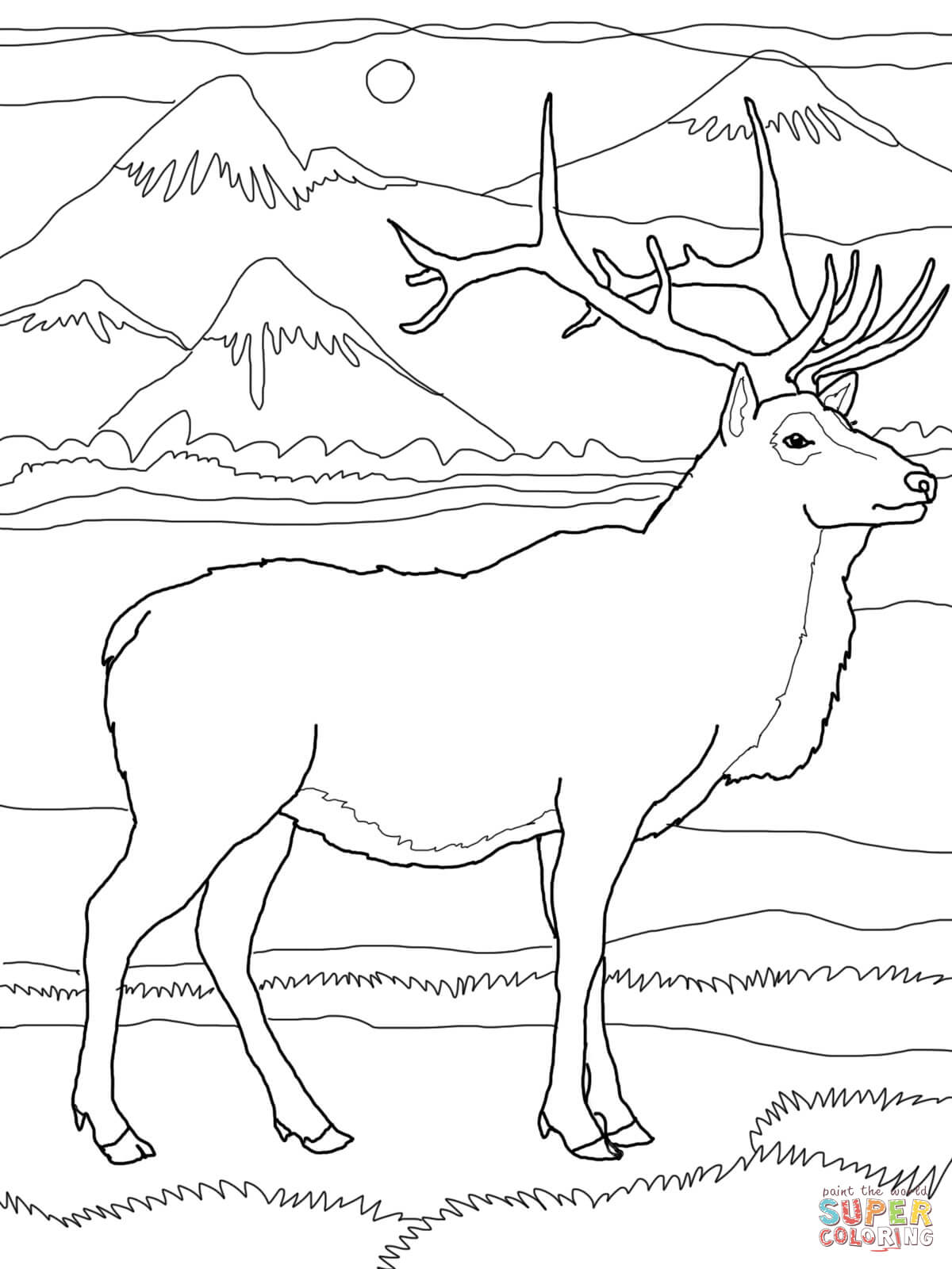 1200x1600 Bull Elk Coloring Pages Download And Print For Free Best Of Inside