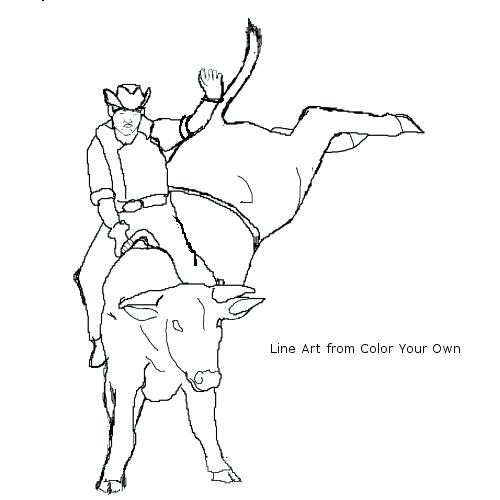 500x500 Bull Riding Coloring Pages Free Online Printable Coloring Pages