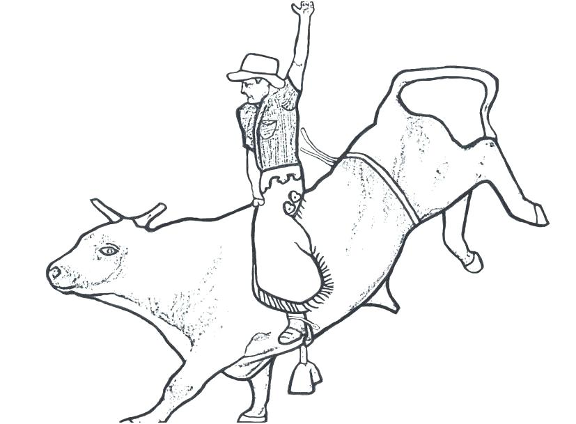 827x609 Bull Riding Coloring Pages