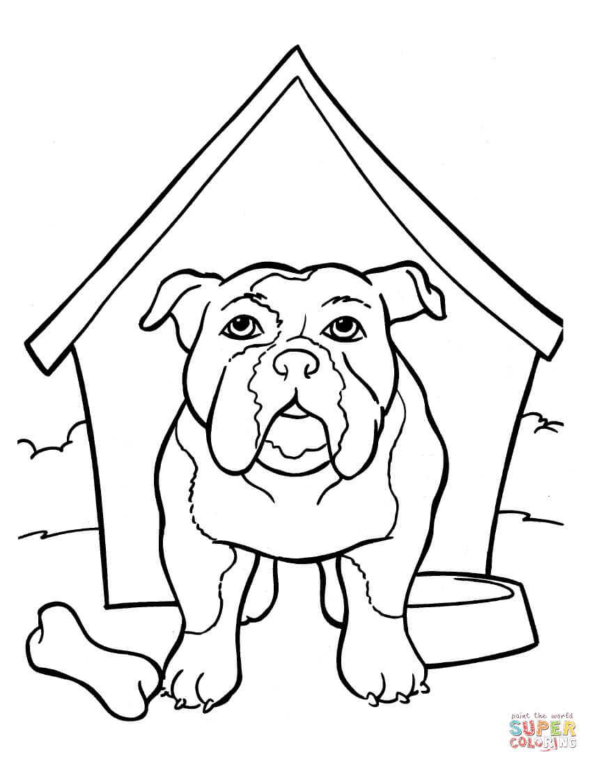 850x1100 Bulldog Coloring Pages Is In The Kennel Page Free Printable
