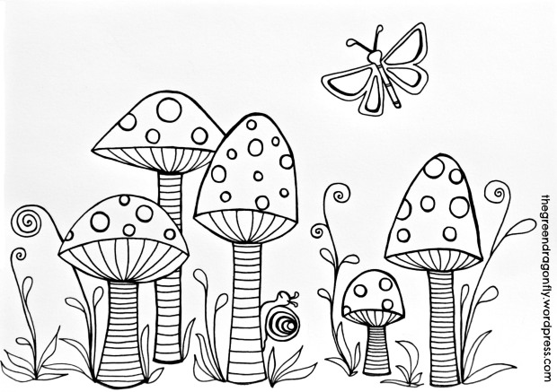 620x437 Toadstools Coloring Page Bullet, Journal And Digi Stamps