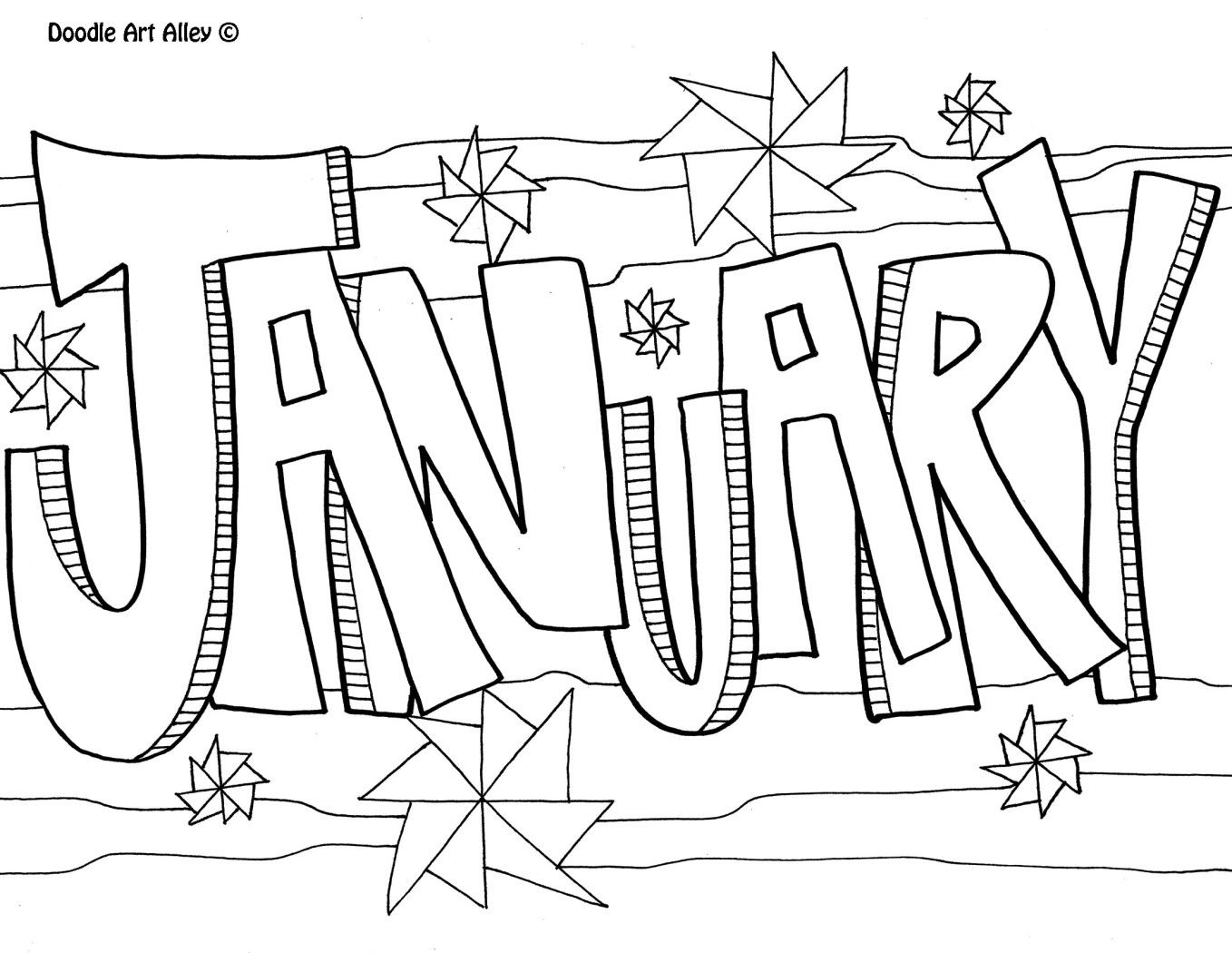 1358x1050 January Coloring Pages Bullet Journals, Bullet
