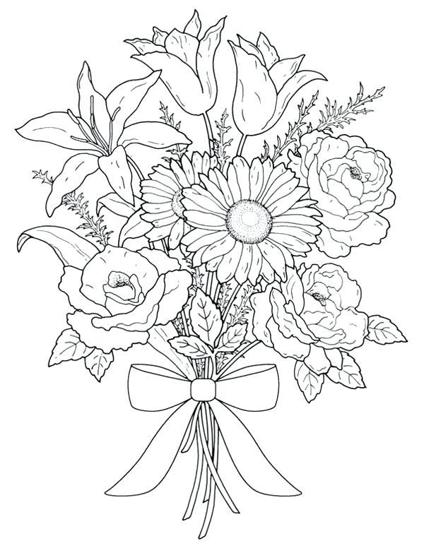 600x766 Color Page Flower Bouquet Of Flowers Coloring Page Flower Bouquet