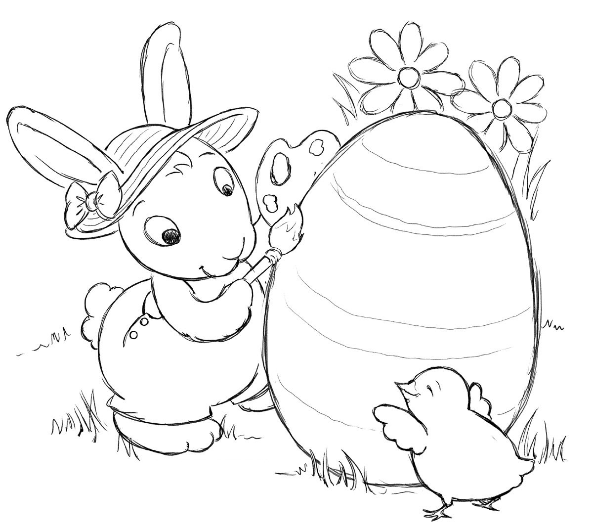 1200x1074 Realistic Bunny Coloring Pages