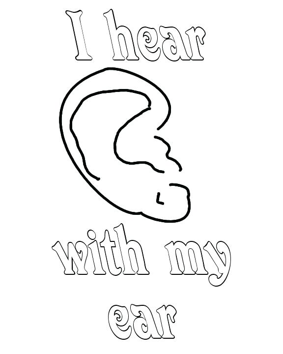 576x720 Ear Coloring Page Ear Pictures To Color Coloring Page Bunny Ear