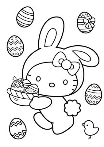 339x480 Hello Kitty Easter Bunny Coloring Page Easter Coloring Pages