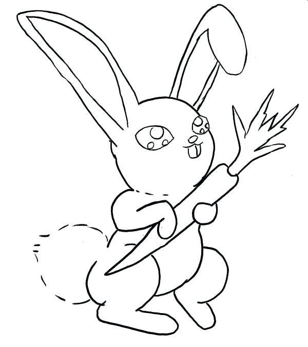 600x674 Carrot Coloring Pages A Sweet Bunny Holding A Stick Of Carrot