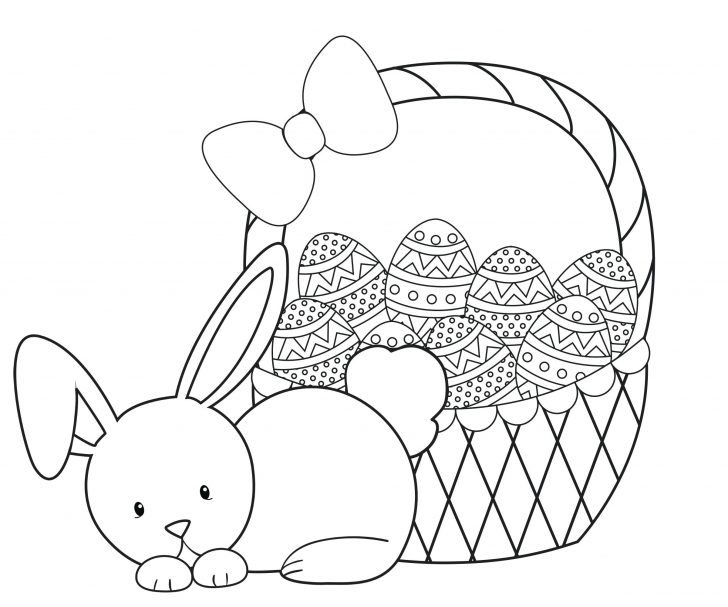 728x607 Cute Easter Bunny Eat Carrot Coloring Page Pages Of Animals