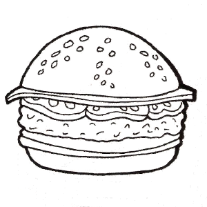 300x300 Burger Coloring Pages