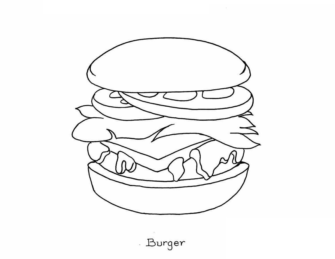 1100x850 Burger Coloring Pages