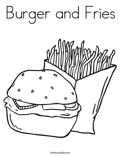 468x605 Burger And Fries Coloring Page