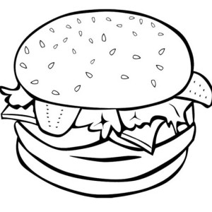 300x300 Cola Fries Burger Junk Food Trio Coloring Page Cola Fries