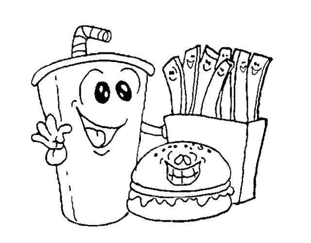 640x501 Coloring Pages Food Fast Food Burger With Drink Coloring Page Food