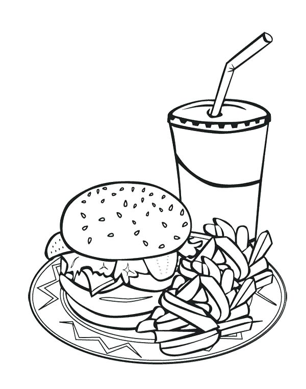600x763 Fresh Fast Food Coloring Pages Or Junk Plus Fried Chicken