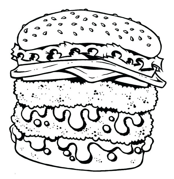 600x615 Junk Food Coloring Pages Junk Food Coloring Pages Junk Food Burger