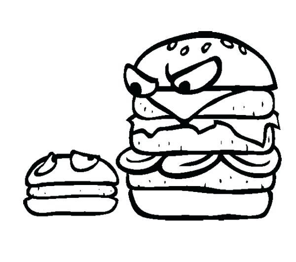 600x531 Small Coloring Pages Junk Food Big Burger And Small Burger