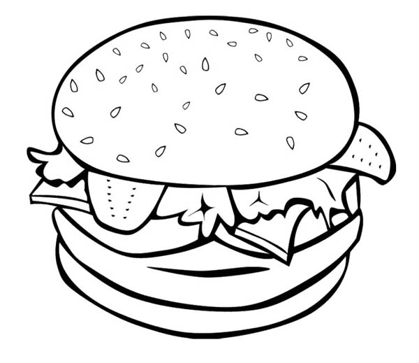 600x519 The Big Burger For Junk Food Coloring Page