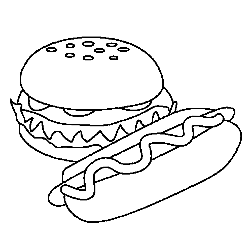 997x945 Top Burger And Hotdog Coloring Pages Have Food Coloring Pages