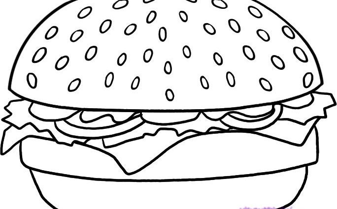 684x425 Burger Coloring Page Hamburger Coloring Pages Getcoloringpages