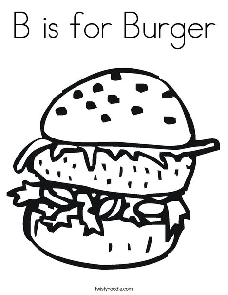 468x605 B Is For Burger Coloring Page