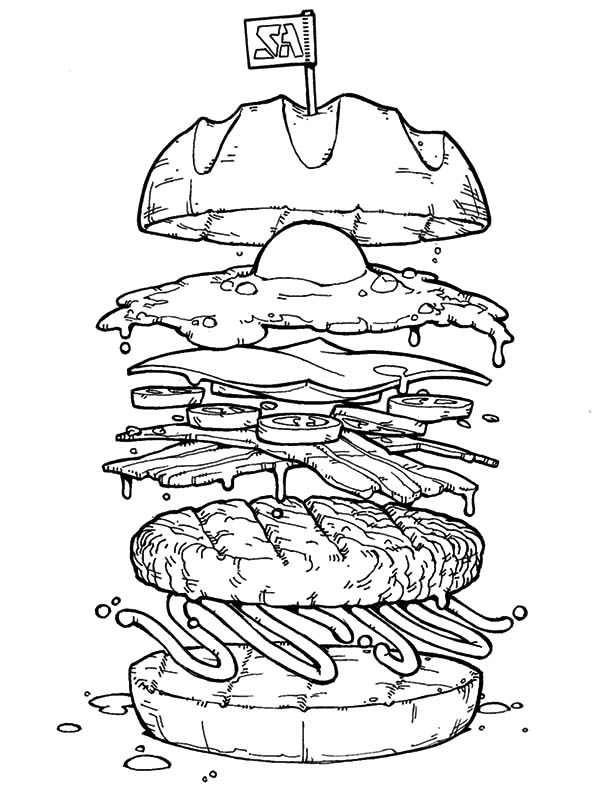 600x796 Big Burger With Fried Egg Coloring Pages