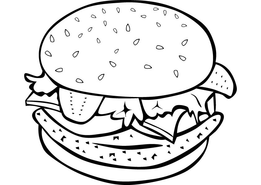 842x595 Burger Coloring Pages