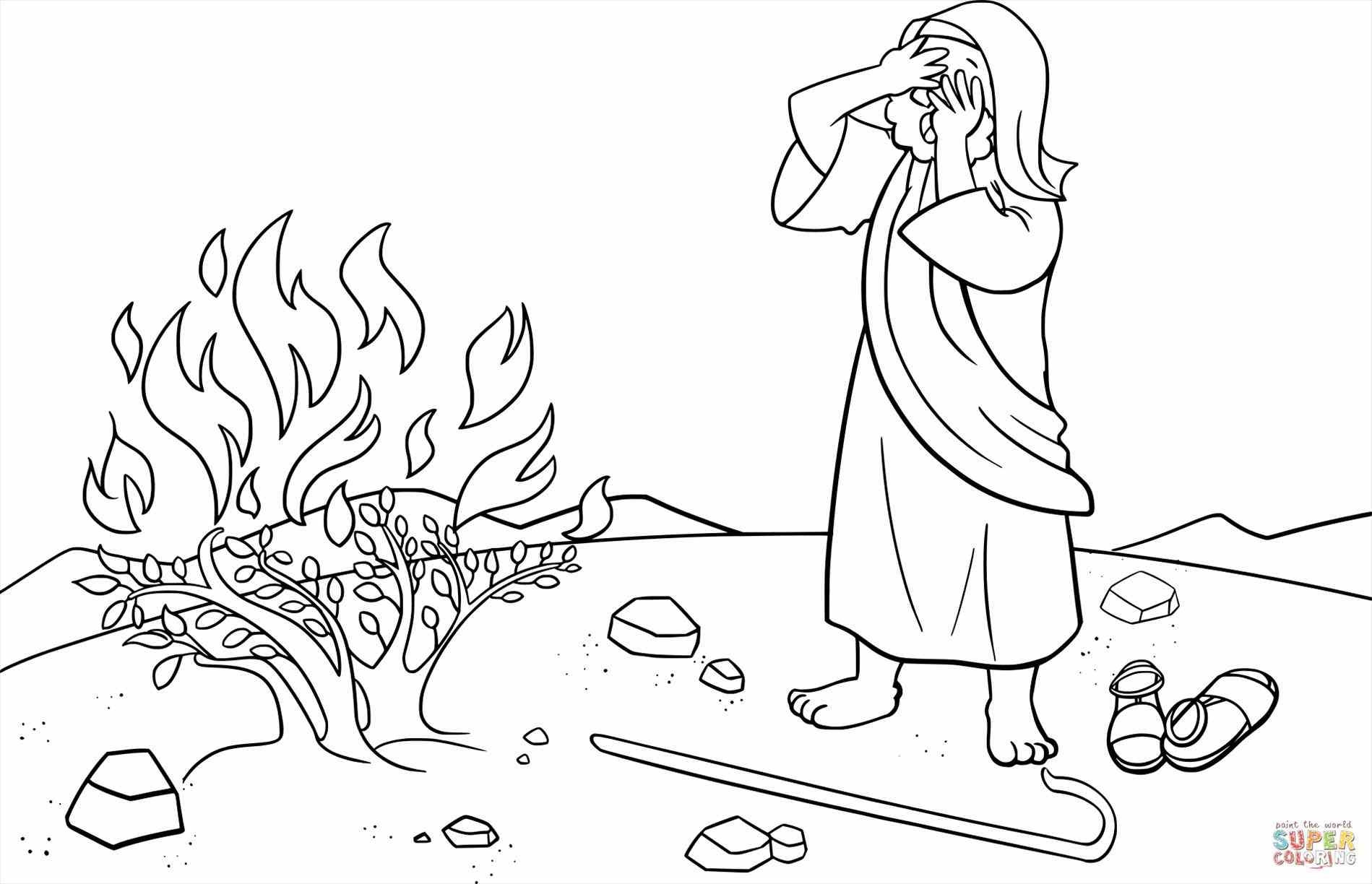 1899x1224 Moses And Burning Bush Coloring Pages Learnfree Printable Free