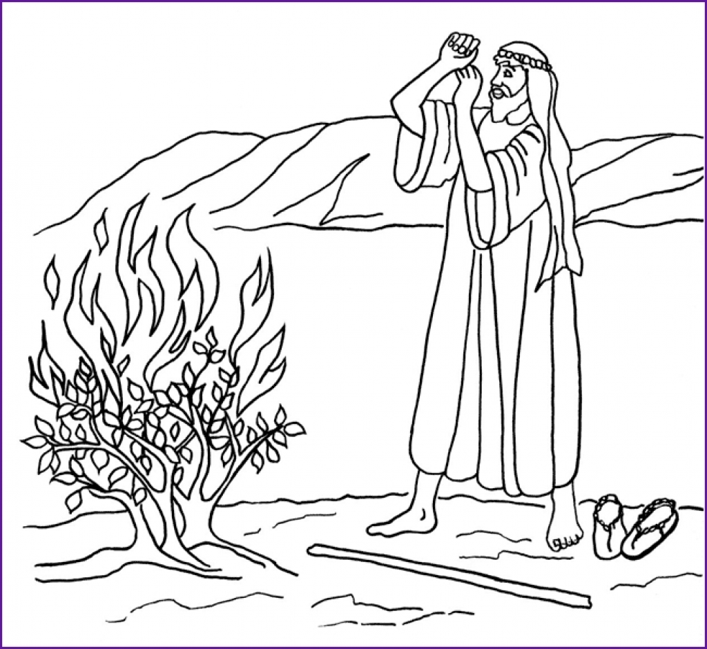 1024x940 Moses Coloring Pages And The Burning Bush To Download Free Page
