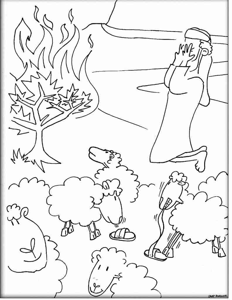 792x1024 Moses The Burning Bush Coloring Page Free Printable Pages Stunning