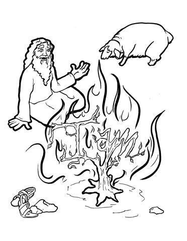 372x479 Moses And The Burning Bush Coloring Page Children's Ministry Deals
