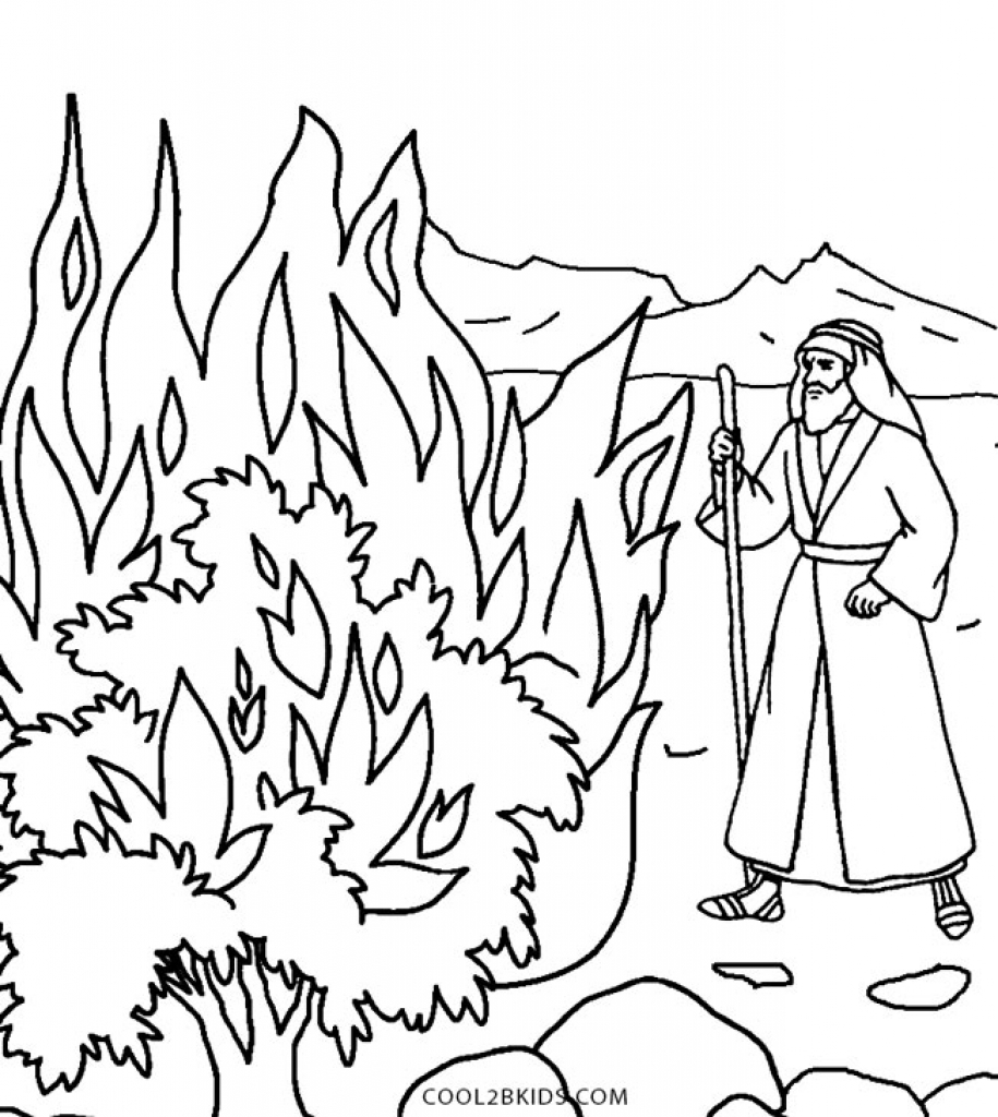 915x1024 Sizable Moses And The Burning Bush Coloring Pa