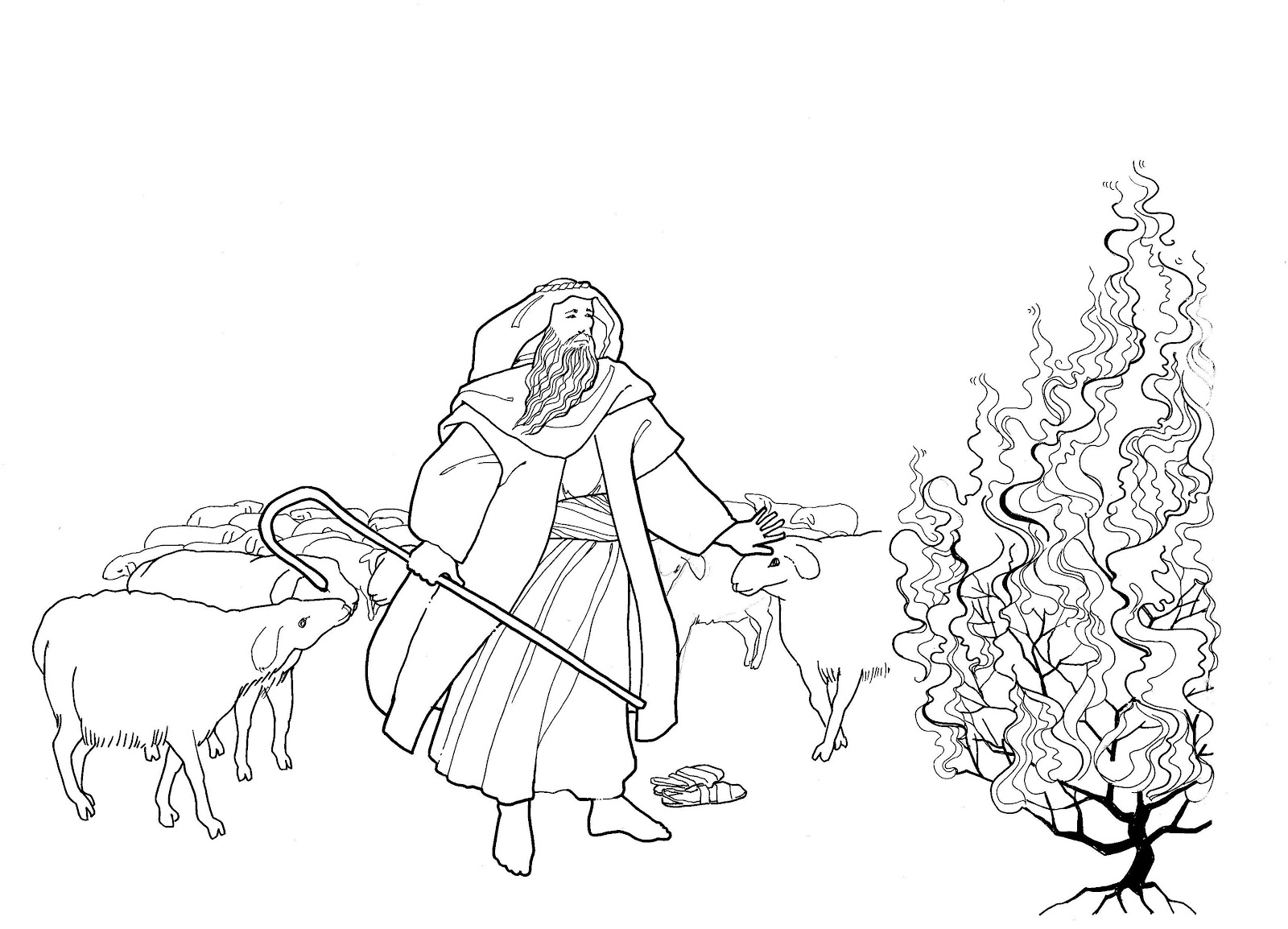 1600x1154 Top Moses Coloring Sheets And The Burning Bush