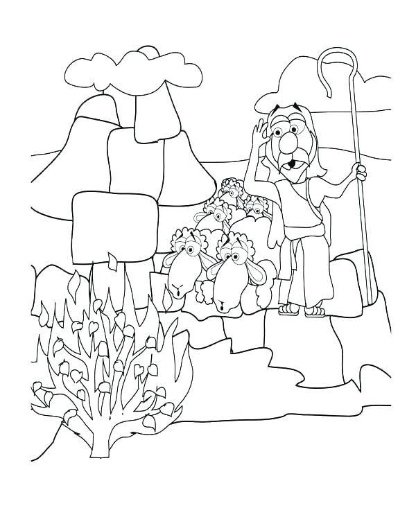 600x733 Moses Burning Bush Coloring Page