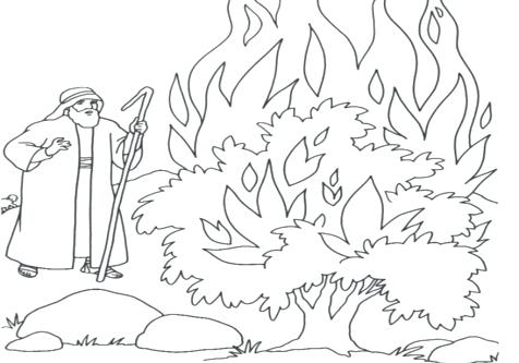 476x333 Burning Bush Coloring Page Coloring Trend Medium Size Cool Stance