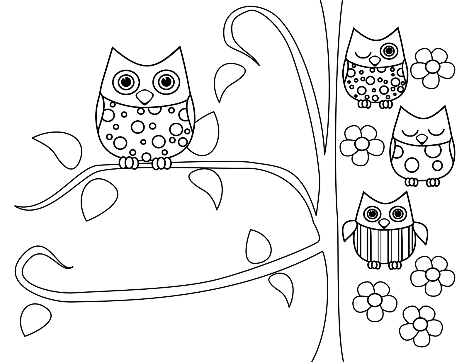 1600x1236 Endearing Coloring Pages Draw An Owl