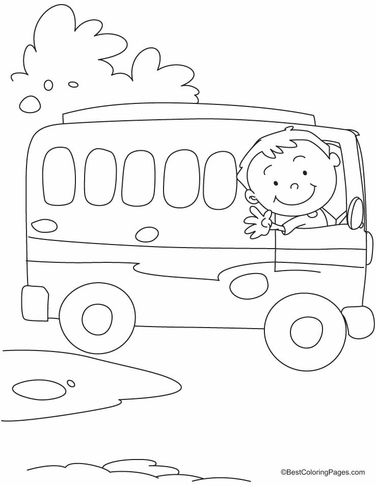 738x954 The Bus Driver Says Ok, Tata, Bye Bye Coloring Pages Drawing