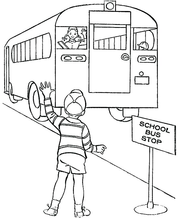 600x734 School Bus To Color School Bus Safety Coloring Book Interconnect