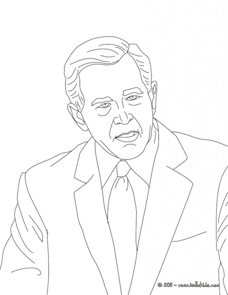 792x1024 George W Bush Coloring Page